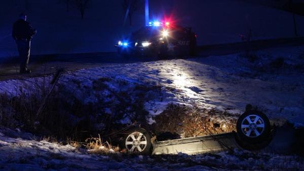 A driver flipped his car into a ditch on Sleepy Hollow Road.