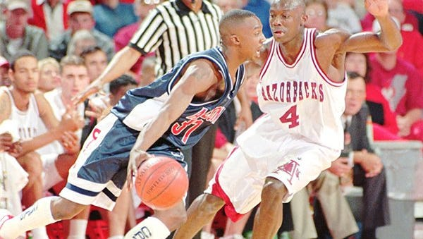 Jesse Pate, left, earned Mr. Basketball honors in 1993 and was Arkansas' leading scorer during the 1995-96 season.