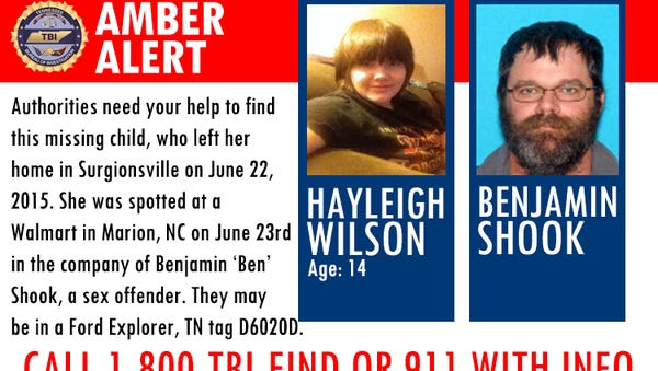 The Tennessee Bureau of Investigation says the girl left her home in Surgoinsville on Monday and was spotted early Tuesday at a Wal-Mart in Marion, North Carolina, with Benjamin Shook. The TBI says Shook has an active warrant out of Georgia.