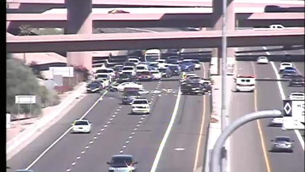 All lanes of Loop 202 Red Mountain at Loop 101 were closed Monday afternoon after an accident.
