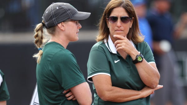 An internal investigation cleared MSU softball coach Jacquie Joseph, right, and assistant Jessica (Beech) Bograkos of allegations of intentionally hitting a Spartan player during batting practice this spring.