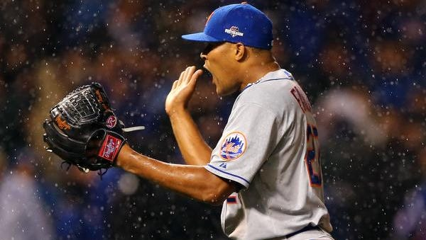 CHICAGO, IL - OCTOBER 20:  Jeurys Familia #27 of the New York Mets celebrates after defeating the Chicago Cubs in game three of the 2015 MLB National League Championship Series at Wrigley Field on October 20, 2015 in Chicago, Illinois.  The Mets defeated the Cubs with a score of 5 to 2.  (Photo by Elsa/Getty Images)