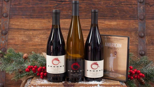 """For the wine lover, Brooks Wines offers special holiday gift packs that include boxed set of wines as well as a copy of the DVD of the movie """"American Wine Story."""""""