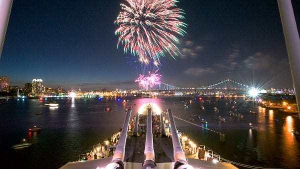 Watch the midnight New Year's fireworks aboard the battleship.