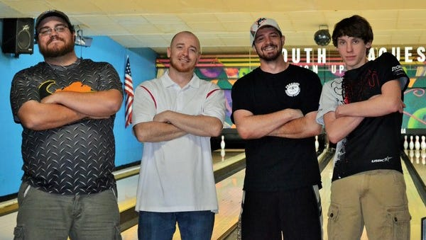 """""""Hooligans"""" won this year's Red Hawks bowling fundraiser with a 2423 series with Casey Parrish, Scott Wright Chris Swiegoda, and Logan Peeler."""