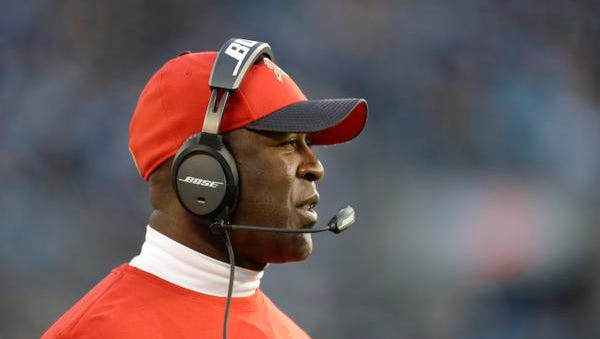 Tampa Bay Buccaneers head coach Lovie Smith on the sidelines during the first half of an NFL football game against the Carolina Panthers in Charlotte, N.C., Sunday, Jan. 3, 2016. The Panthers won 38-10. (AP Photo/Bob Leverone)
