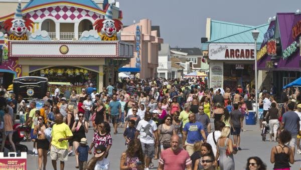 A hot August day brings a crowd to Jenkinson's boardwalk in Point Pleasant Beach.