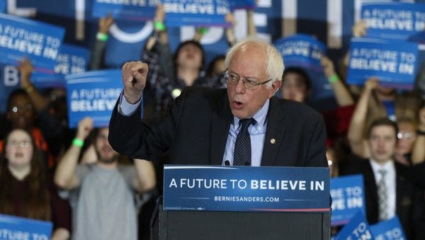 Bernie Sanders speaks in front of a Rochester, NY crowd on April 12, 2016.
