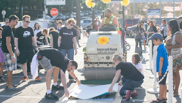 A 3,000 pound steam roller will roll over blocks to create large artist prints at the Southwest Print Fiesta on Labor Day weekend.