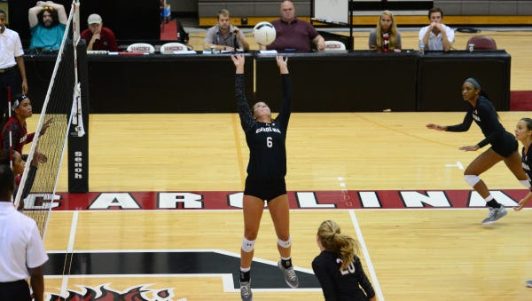 Reynolds graduate Courtney Koehler (6) is a freshman for the South Carolina volleyball team.