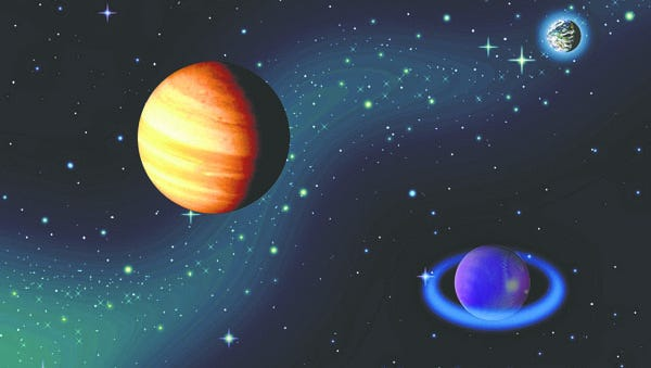 The planets are round because of gravity.