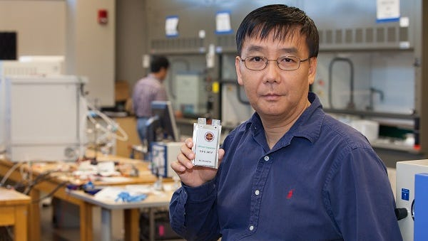 Dr. Jim Zheng is developing a internal hybrid battery/capacitor power system for the army.