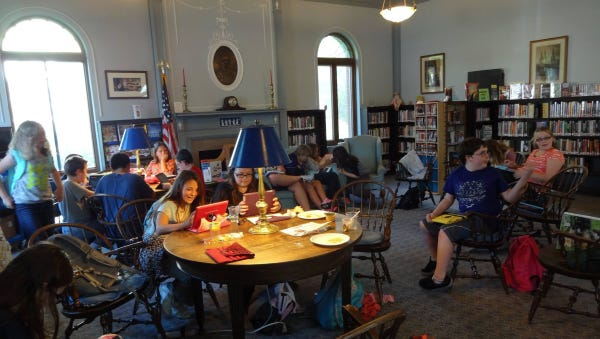 Students at the Groton Public Library.