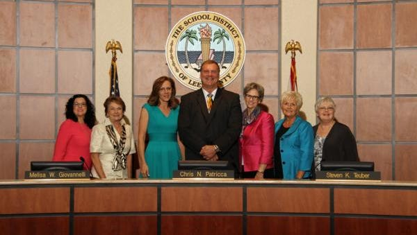 Lee County school board members, from left, Melisa Giovannelli, Jane Kuckel, Chris Patricca, Steven Teuber, Cathleen Morgan, Mary Fischer and Pam LaRiviere.