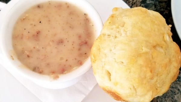 Zachary's Cafe's biscuit and gravy. The gravy was full of ground sausage.