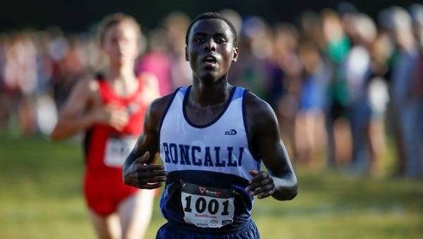 Roncalli's Chombi Lambert finishes fifth at the Jim Bremser Memorial Cross Country Invite at Mishicot High School on Thursday.