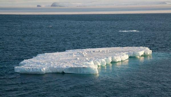 An iceberg floats in the Chukchi Sea in the Arctic Ocean.