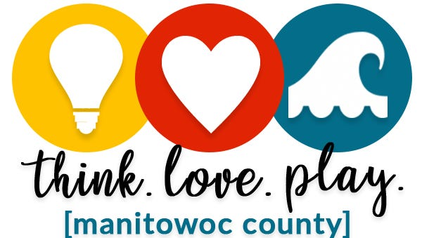 'Think.Love.Play.' Manitowoc County social media campaign logo.