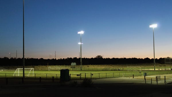 New lighting has been installed at the San Juan College athletic fields as part of a $300,000 renovation project funded by the city refinancing bonds.