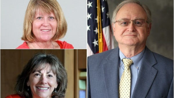 Commissioners have decided to hire an outside firm to assist in their search process for the next Buncombe County manager. From left, clockwise: Mandy Stone; George Wood and Wanda Greene.