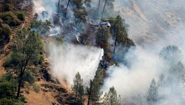 Crews battle the Ferguson Fire along steep terrain behind the Redbud Lodge along Highway 140 near El Portal in Mariposa County, Calif., on Saturday, July 14, 2018.  (Andrew Kuhn /The Merced Sun-Star via AP)