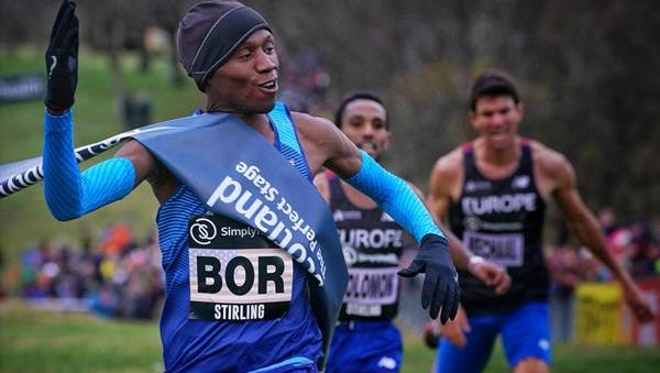 Hillary Bor, at the finish line of the Simplyhealth Great Stirling XCountry race Saturday in Scotland.