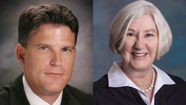 Joseph Riley II, left, is challenging 20-year incumbent Francine Bouillion for her city-court judge seat.