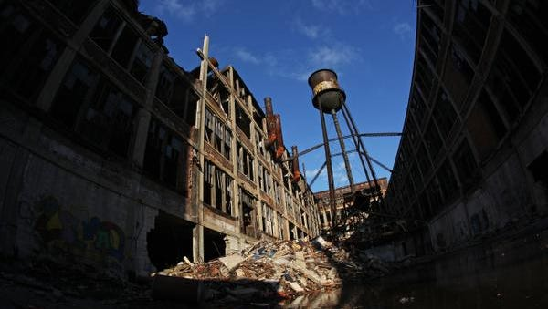 The Detroit Packard Plant's south water tower stands above the crumbling complex on Nov. 23, 2010, only a few months before it was torn down by scrappers.