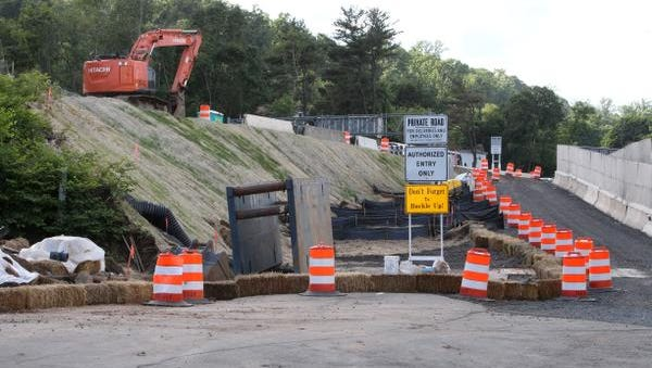A Thruway maintenance building was taken down at this site on River Road in South Nyack to make room for storage of materials for the Tappan Zee Bridge construction project June 5, 2014.