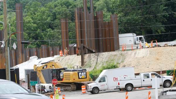 Some steel beams along the I 287 in Nyack that is being driven into the ground on July 16, 2014.