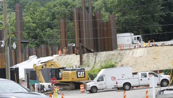 The state Thruway Authority has halted Tappan Zee Bridge-related pile driving work in South Nyack because it is above contractual noise limits. The sheet pile work is seen here in July 16, 2014.
