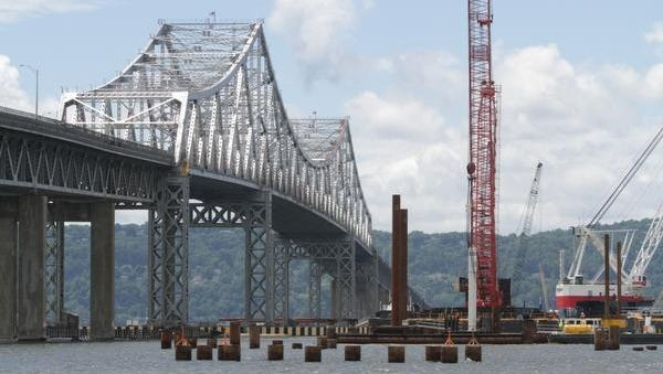 View from a boat near the construction site of the Tappan Zee Bridge project, photographed June 5, 2014.