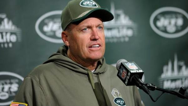 In this Nov. 10, 2014, file photo, New York Jets head coach Rex Ryan speaks during a news conference after an NFL football game against the Pittsburgh Steelers in East Rutherford, N.J. Ryan has been fined $100,000 for his postgame use of profanity that was picked up on video last Sunday after the game against the Steelers.
