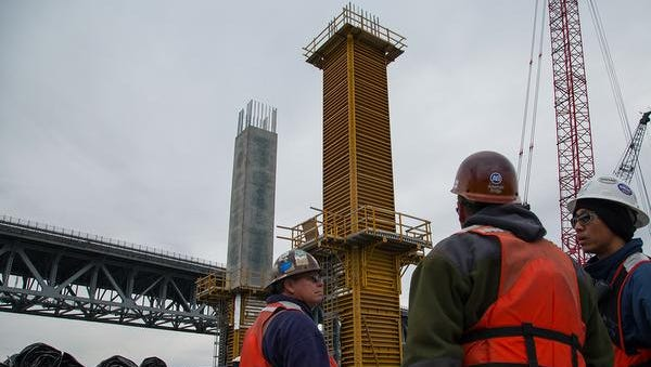 The final concrete is revealed for the first column of the new Tappan Zee Bridge.