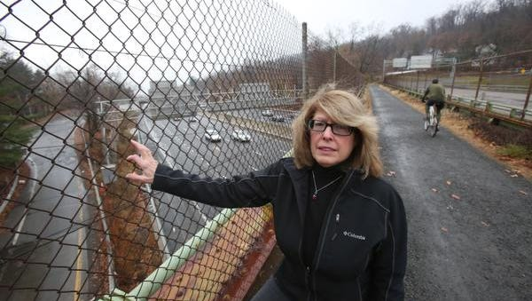 South Nyack Mayor Bonnie Christian stands on the Esposito Trail near Village Hall on Wednesday. She is upset that the New York State Thruway Authority wants to connect the shared use path on the Tappan Zee Bridge to a residential neighborhood near Village Hall.