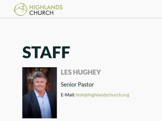A photo of Les Hughey on the Highlands Church website.