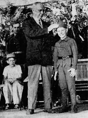Denny Frank was crowned Jack-of-the-Beanstalk at the Santiam Bean Festival 1949.