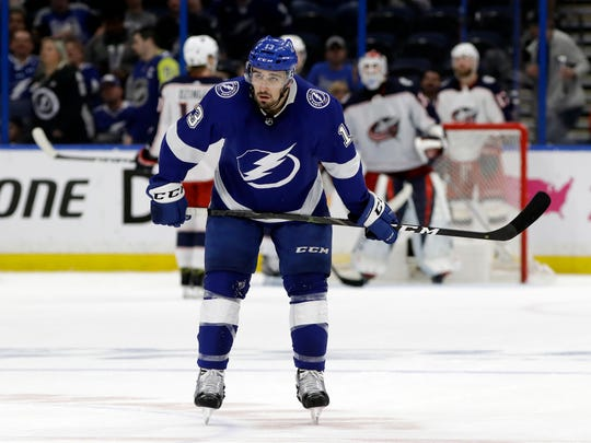 Tampa Bay Lightning center Cedric Paquette (13) skates off during the final seconds of the third period of Game 2 of an NHL Eastern Conference first-round hockey playoff series  against the Columbus Blue Jackets, Friday, April 12, 2019, in Tampa, Fla. (AP Photo/Chris O'Meara)