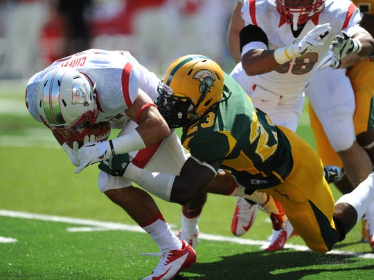 Rutgers cornerback Anthony Cioffi recovers a blocked punt in last season's win against Norfolk State.