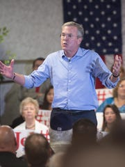 Republican Presidential Candidate Jeb Bush, speaks to a standing room only crowd attending a town hall style meeting in Pensacola, Florida Wednesday Aug. 26, 2015.