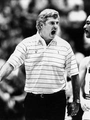 Indiana University basketball coach Bob Knight screams