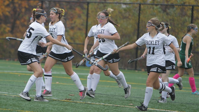 Hackley celebrates after Molly Harmon scores the opening goal in a NYSAIS semifinal match against Nichols at the Hackley School on Friday, November 6th, 2015. Hackley won 5-0.