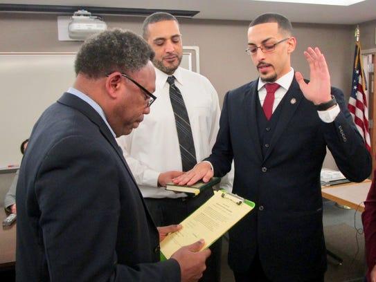 Linden Board of Education member Ahmed Shehata is sworn