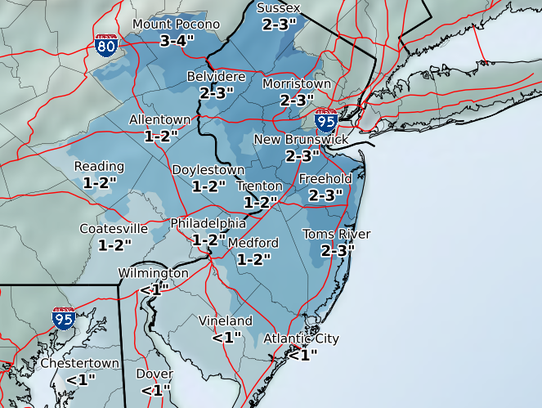 Most of the Jersey Shore should expect 2 to 3 inches
