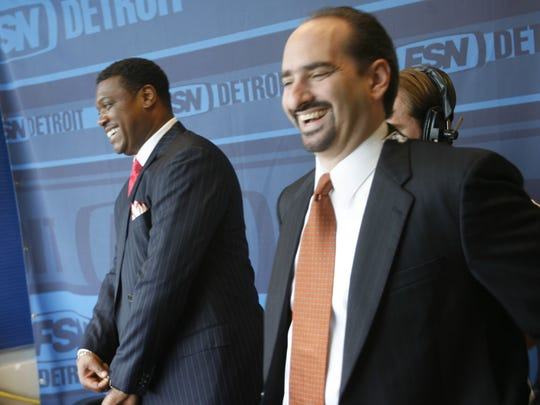 Rod Allen, left, and Mario Impemba in the Fox Sports Detroit studio in 2006.
