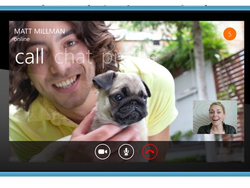The app Skype running on a Windows smartphone.