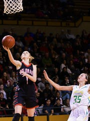 Colorado City's Kaitlyn Kimball goes to the hoop with