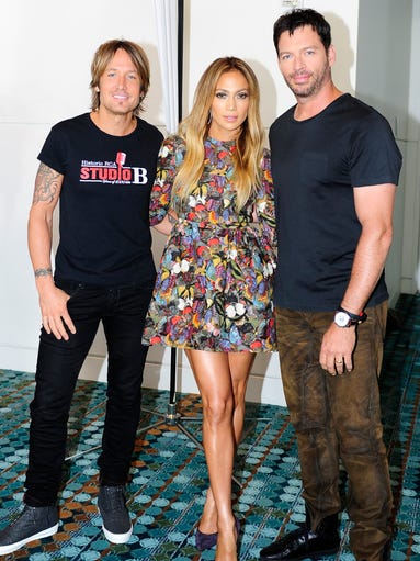 American Idol judges Keith Urban, Jennifer Lopez, and Harry Connick Jr. were together for auditions in Nashville, Tenn. on Aug. 4, 2014.