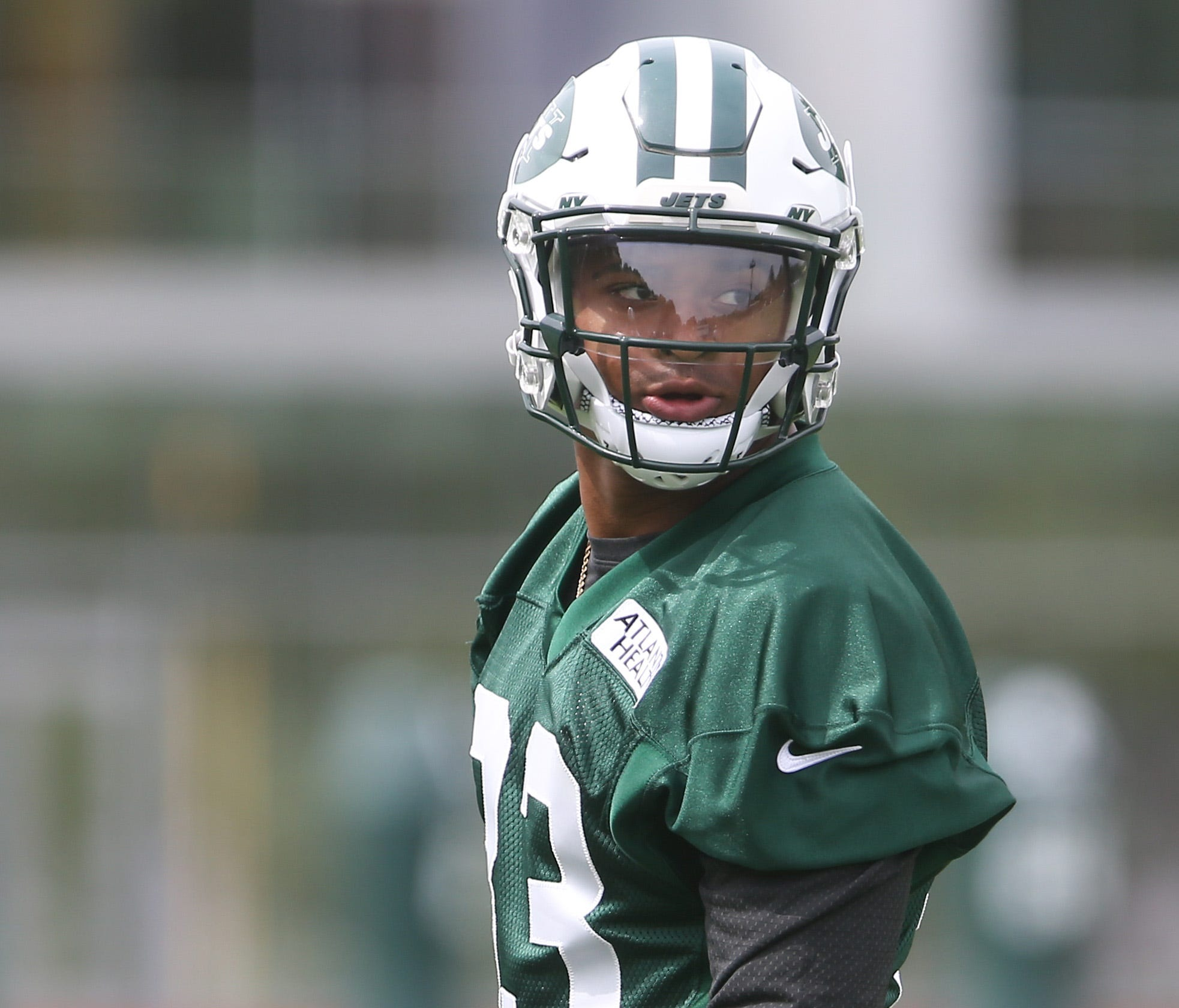 New York Jets safety Jamal Adams (33) holds a pad during their organized team activities at the Atlantic Health Jets Training Center.