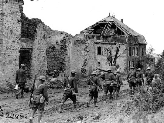 The soldiers of the U.S. 79th Division are marching